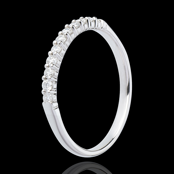 Verighetă aur alb de 18K semi pavat - încrustată - 11 diamante