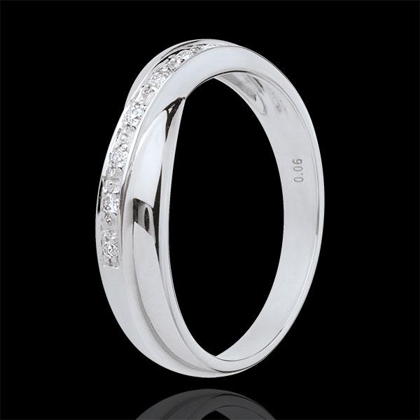 Verighetă aur alb de 18K - setare bară - 7 diamante