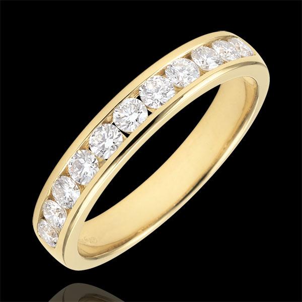 Verighetă aur galben de 18K semi pavată - setare bară - 0.5 carate - 11 diamante