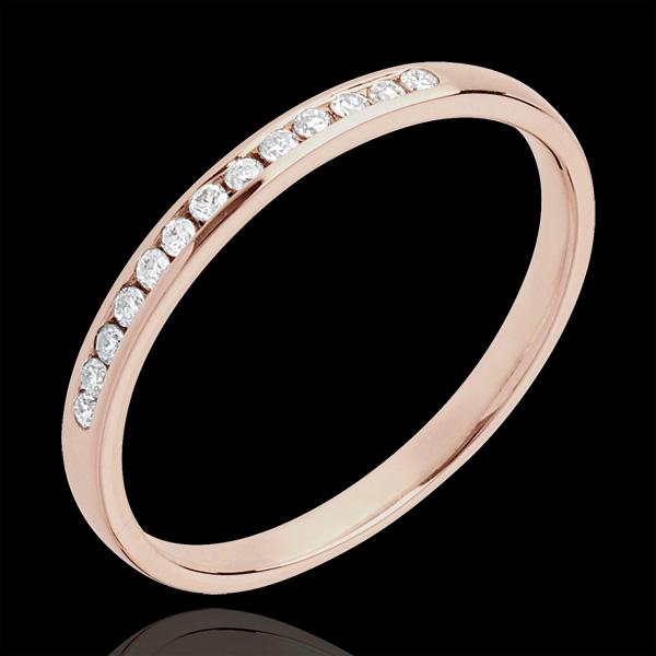 Verighetă aur roz de 18K diamant