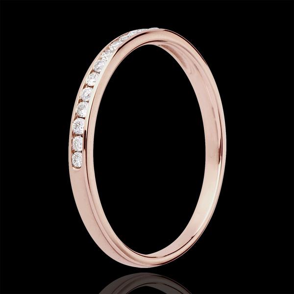 Verighetă aur roz de 18K semi pavată - setare bară - 13 diamante