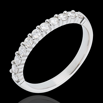 Verighetă din aur alb de 18K semi pavată - fixate în gheruţe- 0.4 carate - 11 diamante