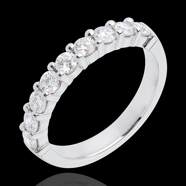 Verighetă din aur alb de 18K semi pavată - fixate în gheruţe- 0.75 carate - 9 diamante