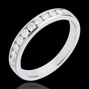 Verighetă din aur alb de 18K semi pavată - setare bară - 0.4 carate - 11 diamante