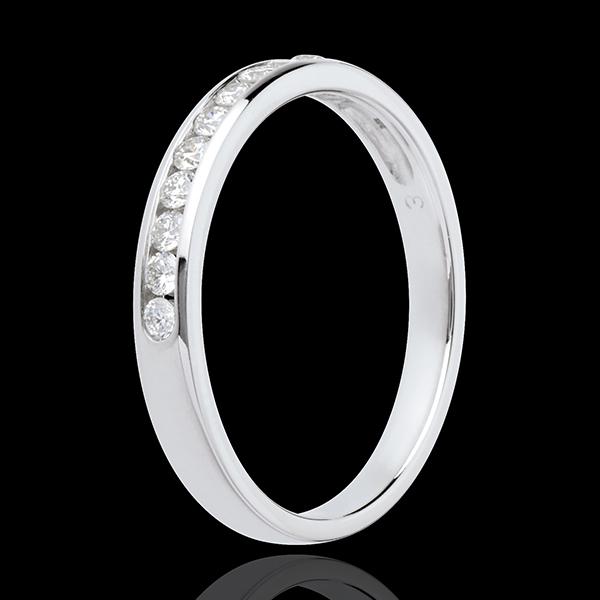Verighetă din aur alb de 18K semi pavată - setare bară - 11 diamante : 0.2 carate