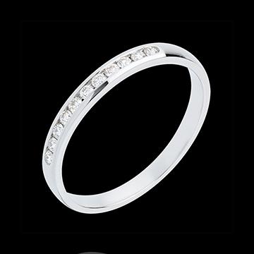 Verighetă din aur alb de 18K semi pavată - setare bară - 11 diamante