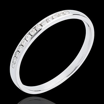Verighetă din aur alb de 18K semi pavată - setare bară - 13 diamante
