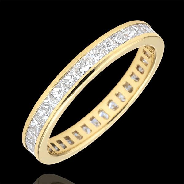 Verighetă din aur galben de 18K pavată - setare bară - 1.02 carate - diamante tăiate princess - Tur complet
