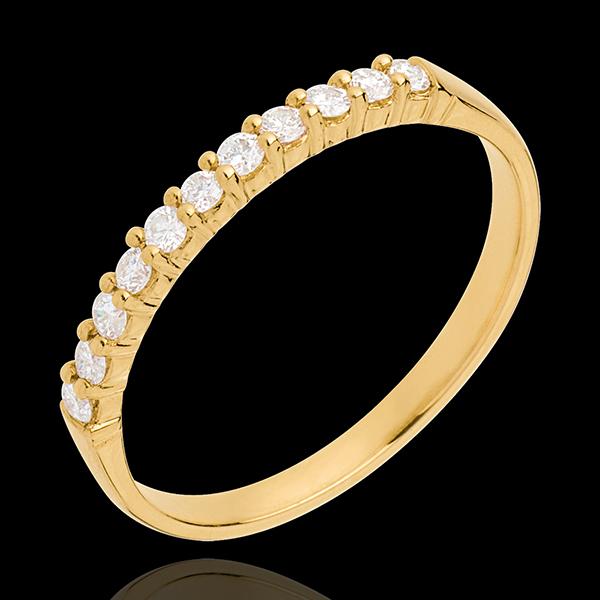 Verighetă din aur galben de 18K semi pavată - fixate în gheruţe - 11 diamante