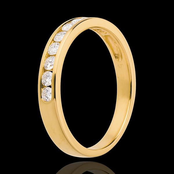 Verighetă din aur galben de 18K semi pavată - setare bară - 0.3 carate - 10 diamante