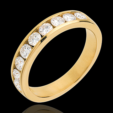 Verighetă din aur galben de 18K semi pavată - setare bară - 0.75 carate - 9 diamante