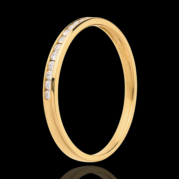 Verighetă din aur galben de 18K semi pavată - setare bară - 13 diamante