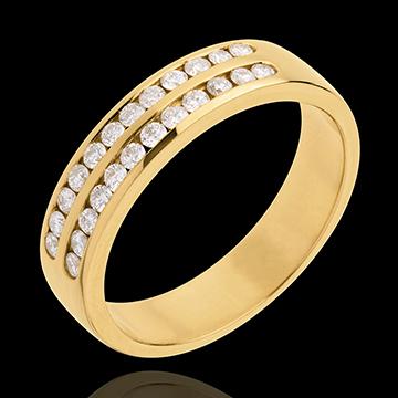 Verighetă din aur galben de 18K semi pavată - setare bară pe 2 rânduri - 0.36 carate - 24 diamante