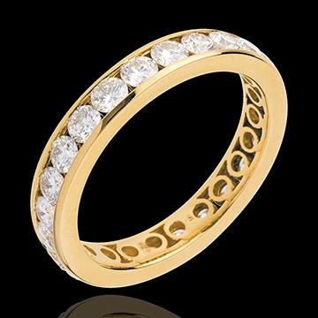 Verighetă din aur galben pavată - setare bară - 1.9 carate - 23 diamante