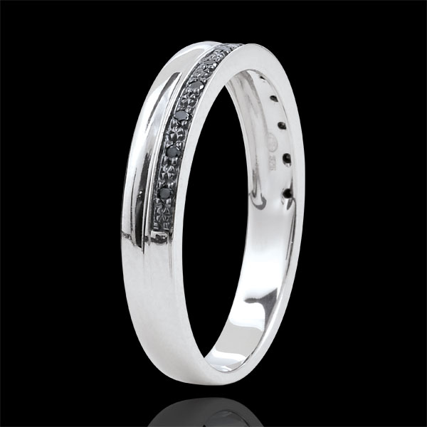 Verighetă Eleganţă aur alb de 9K şi diamante negre