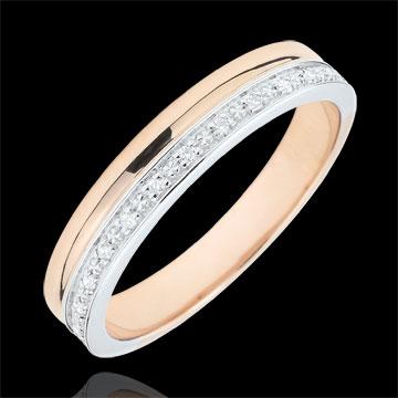 Verighetă Eleganţă aur alb şi aur roz de 9K