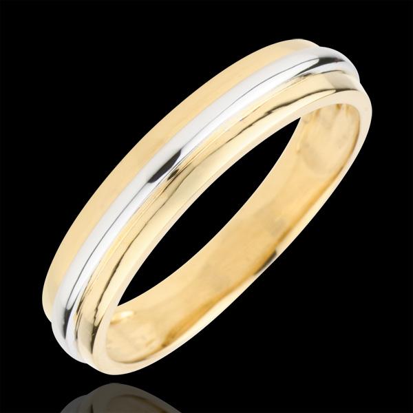 Verighetă Helios - aur alb şi aur galben de 9K