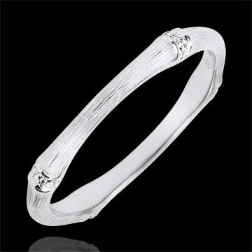 Verighetă Junglă Sacră - Multi diamante 2 mm - aur alb de 18K cu lustru periat