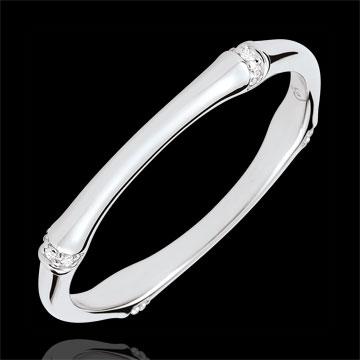 Verighetă Junglă Sacră - Multi diamante 2 mm - aur alb de 18K