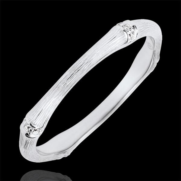 Verighetă Junglă Sacră - Multi diamante 2 mm - aur alb de 9K cu lustru periat