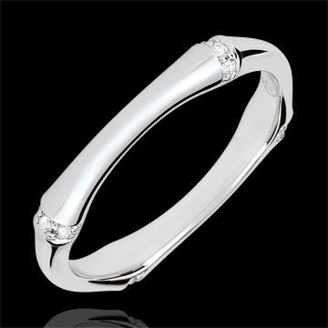 Verighetă Junglă Sacră - Multi diamante 3 mm - aur alb de 18K