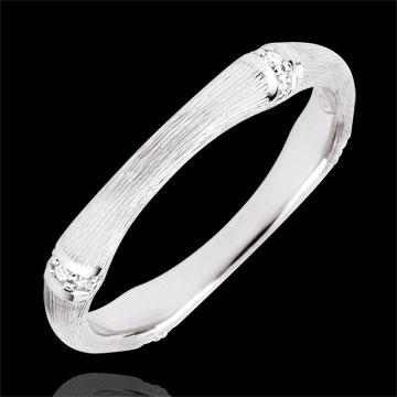 Verighetă Junglă Sacră - Multi diamante 3 mm - aur alb de 9K cu lustru periat