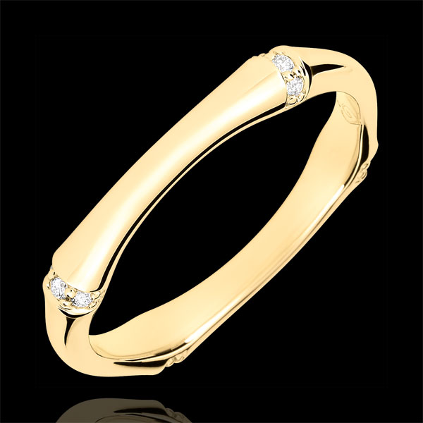 Verighetă Junglă Sacră - Multi diamante 3 mm - aur galben de 18K