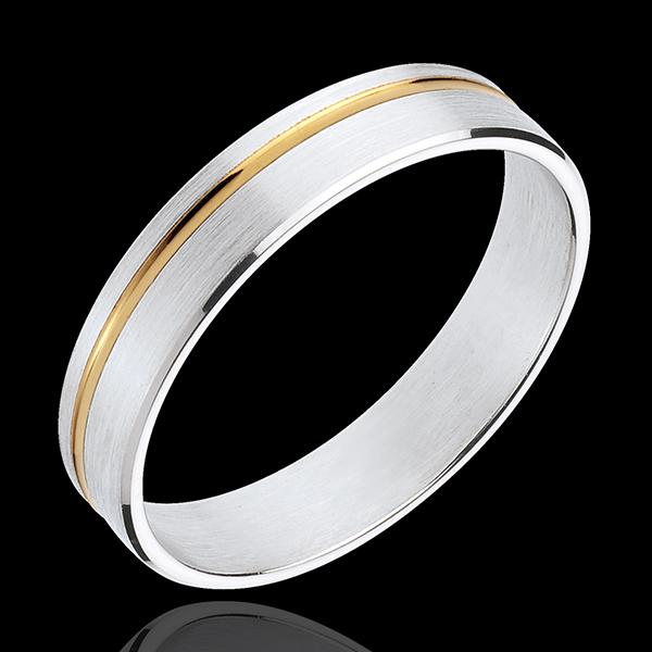 Verighetă Mathis - aur alb şi aur galben de 18K