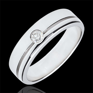 Verighetă Olympia Diamant - Model mare - aur alb de 9K