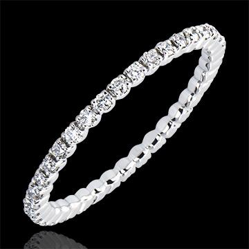 Verighetă Origini - Setare Gheruţe Tur Complet - aur alb 18K şi diamante