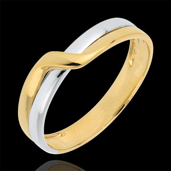 Verighetă Pasiune în Eden 2 nuanţe - aur alb şi aur galben de 9K