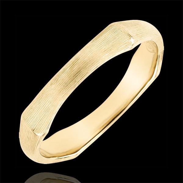 Verighetă pentru bărbaţi Junglă Sacră - 4 mm - aur galben de 9K cu lustru periat
