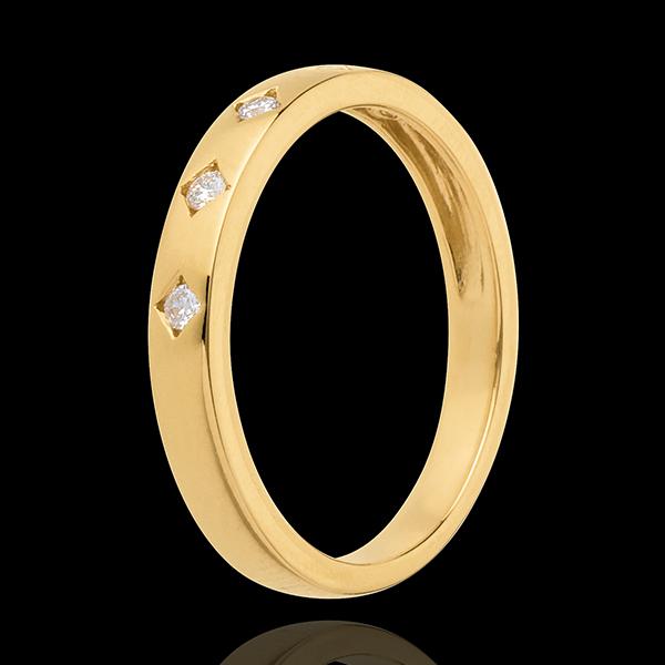Verighetă ploaie de diamante - 5 diamante - aur alb de 18K