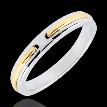 Verighetă Promisiune - model mic - aur alb şi aur galben de 9K