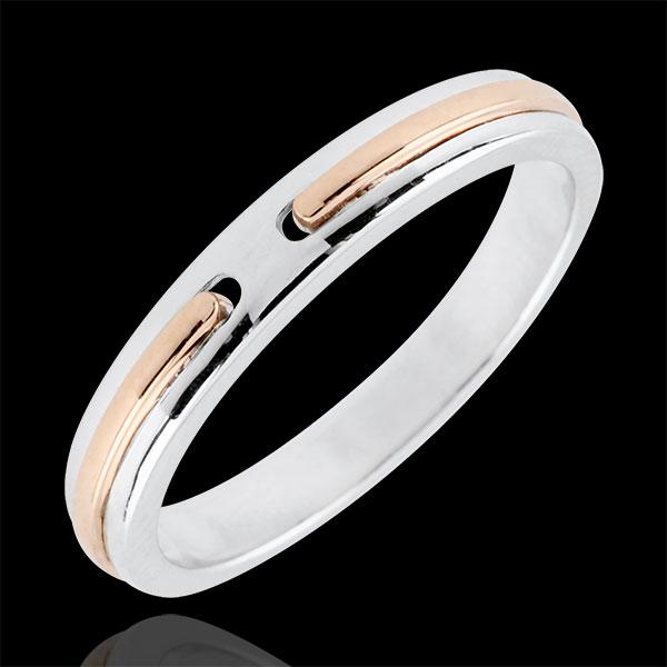 Verighetă Promisiune - model mic - aur alb şi aur roz de 18K