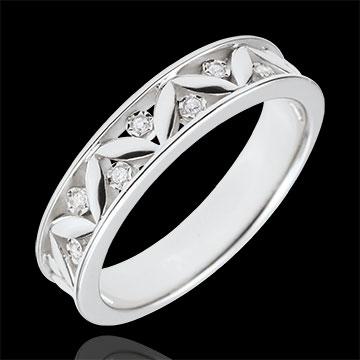 Verighetă Prospeţime - Roma Antică - aur alb de 9K - -7 Diamante