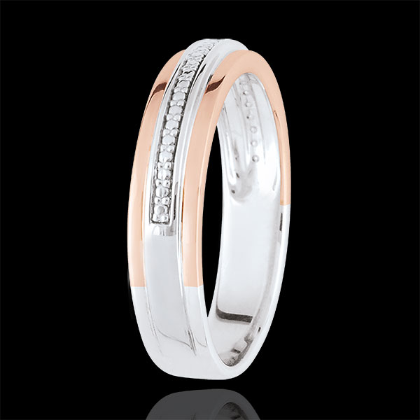 Verighetă - Romantică - aur alb şi aur roz de 18K