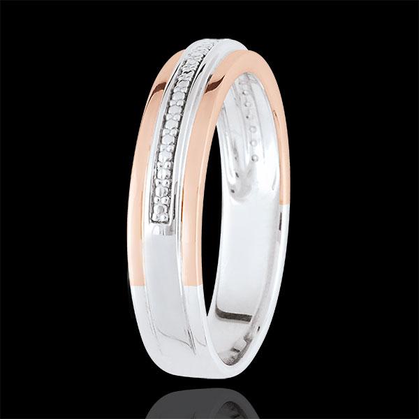 Verighetă Romantică - aur alb şi aur roz de 9K