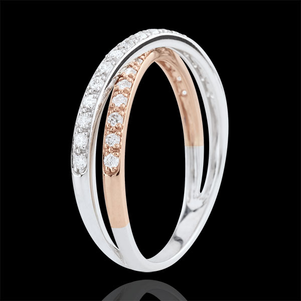 Verighetă Saturn Duo diamant dublu - aur alb şi aur roz de 18K