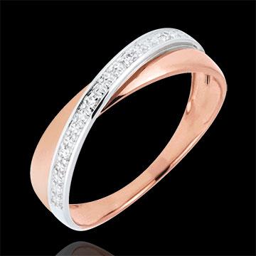 Verighetă Saturn Duo - diamante - aur alb şi aur roz de 18K