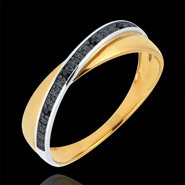 Verighetă Saturn Duo - diamante negre - aur alb şi aur galben de 18K