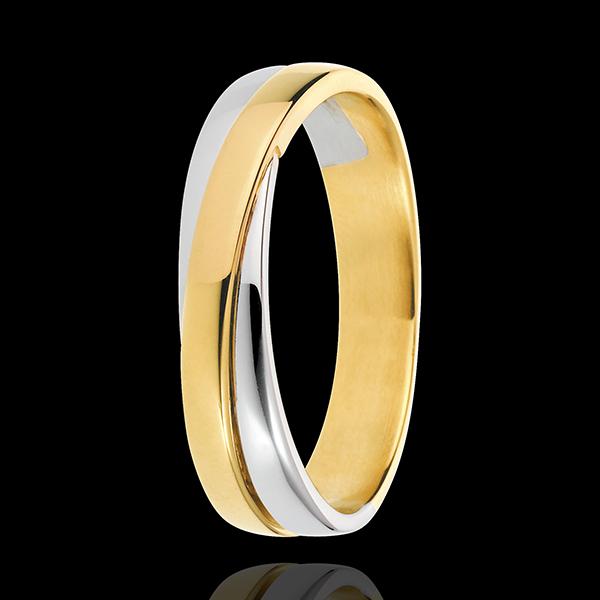 Verighetă Saturn Duo - în întregime din aur - aur alb şi aur galben de 18K
