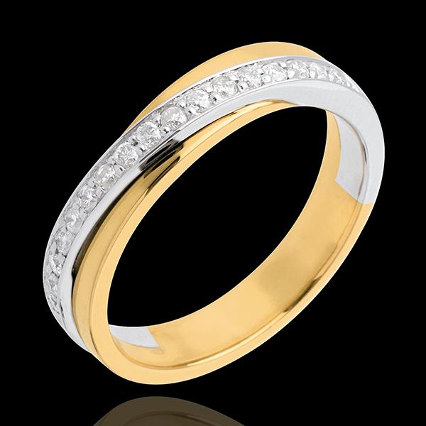 Verighetă - semi pavată - 17 diamante - aur alb şi aur galben de 18K