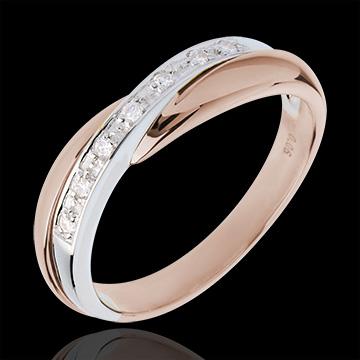 Verighetă - setare bară - 7 diamante - aur alb şi aur roz de 18K