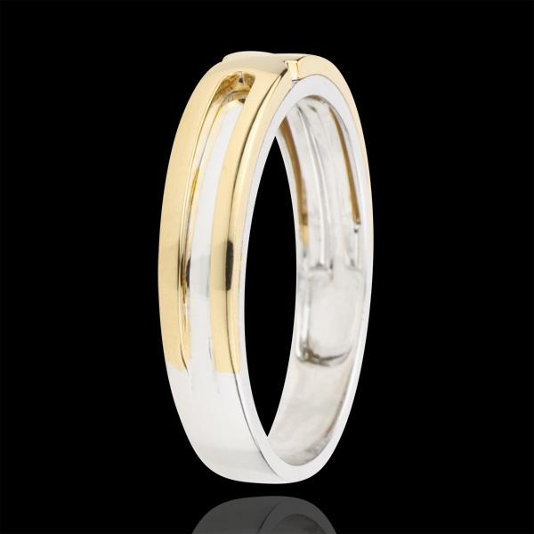 Verighetă Solstiţiu - două nuanţe de aur - aur alb şi aur galben de 9K