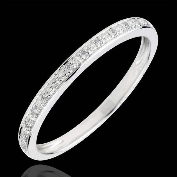 Verighetă Străluciri de diamant - aur alb de 18K şi diamante - semi tur