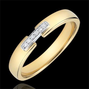Verighetă uni-preţioasă aur galben de 18K şi diamante