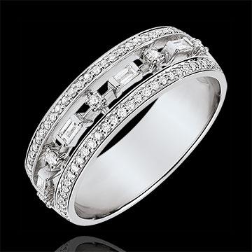 Inel Destin - Mica Împărăteasă - 71 diamante - aur alb de 18K