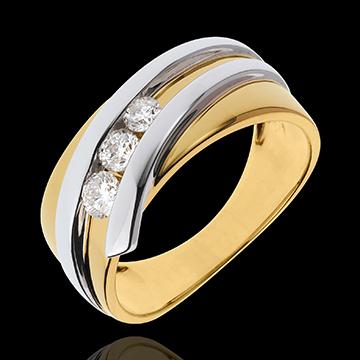 Ring Trilogie Kostbarer Kokon - Priscilla - Gelb- und Weißgold - 3 Diamanten 0. 31 Karat - 18 Karat