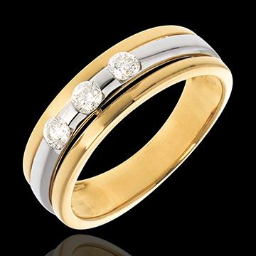 Trilogie Ring Sonnenfinsternis in Weiss- und Gelbgold - 0.24 Karat - 3 Diamanten